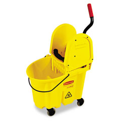 Rubbermaid Commercial Wavebrake 35 Quart Bucket/Wringer Combinations, Yellow