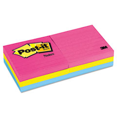 Post-it Notes Neon Color Notes, 3 x 3, Lined, Neon Colors, 6 100-Sheet Pads/Pack