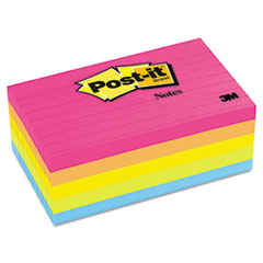 Post-it Notes Original Pads in Neon Colors, 3 x 5, Lined, Neon Colors, 5 100-Sheet Pads/Pack