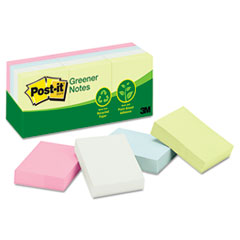 Post-it Greener Notes Recycled Notes, 1-1/2 x 2, Sunwashed Pier, 12 100-Sheet Pads/Pack