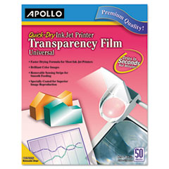 Apollo Transparency Film for Inkjet Devices, Clear, 50/Box