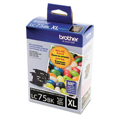 Brother LC752PKS (LC-75BK) Innobella High-Yield Ink, Black, 600 Page-Yield, 2/Pk
