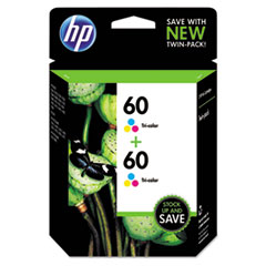 CZ072FN140 (HP 60) Ink Cartridge, Tri-Color, 165 Page-Yield, 2/Pk