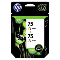 HP 75, (CZ070FN) 2-pack Tri-color Original Ink Cartridges
