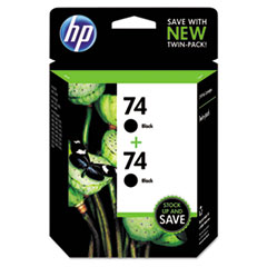 CZ069FN140 (HP 74) Ink Cartridge, Black, 200 Page-Yield, 2/Pk