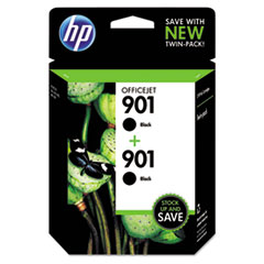 CZ075FN140 (HP 901) Ink Cartridge, Black, 200 Page-Yield, 2/Pk