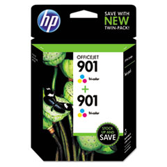 CZ076FN140 (HP 901) Ink Cartridge, Tri-Color, 360 Page-Yield, 2/Pk