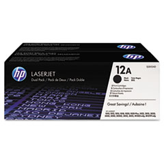 Q2612D (HP 12A) Toner Cartridge, 2,000 Page-Yield, 2/Box, Black