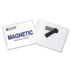 C-Line Magnetic Name Badge Holder Kit, Horizontal, 4w x 3h, Clear, 20/Box