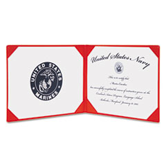 AbilityOne 7510010561927 Award Certificate Binder, 8 1/2 x 11, Marine Corps Seal, Red/Gold