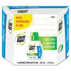 Paper Mate Liquid Paper Fast Dry Correction Fluid, 22 ml Bottle, White, 3/Pack