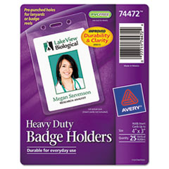 Avery Badge Holders, Vertical, 3w x 4h, Clear, 25/Pack