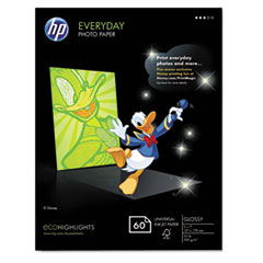 HP Everyday Photo Paper, Glossy, 5 x7, 60 Sheets/Pack