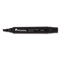 Universal Permanent Markers, Chisel Tip, Black, 12/Pack