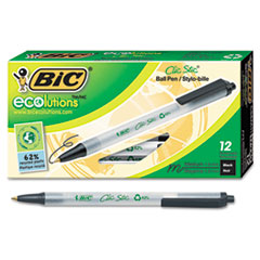 BIC Ecolutions Clic Stic Ballpoint Retractable Pen, Black Ink, 1mm, Medium, Dozen