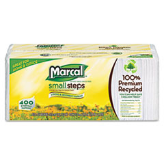 Marcal Small Steps 100% Recycled Lunch Napkins, 1-Ply, 12 1/2 x 11 2/5, White, 400/Pack