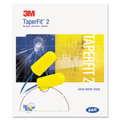 3M E-A-R TaperFit 2 Self-Adjusting Earplugs, Uncorded, Foam, Yellow, 200 Pairs/Box