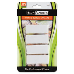 Baumgartens Block Eraser, Latex Free, White, 4/Pack