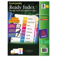 Avery EcoFriendly Ready Index Table of Contents Divider, Multicolor 1-8, Letter, 3/PK