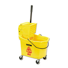 AbilityOne 7920013433776 Combination Wet Mop Bucket and Wringer, 35 qt, Yellow