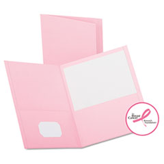 Oxford Twin-Pocket Portfolio, Embossed Leather Grain Paper, Pink, 25/Box