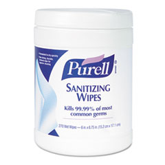 PURELL Sanitizing Hand Wipes, 6 x 6.75, White, 270 Wipes per Canister, 6 per Carton