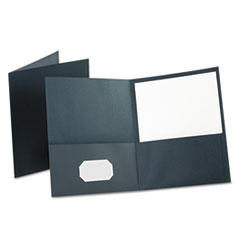 Oxford Twin-Pocket Folder, Embossed Leather Grain Paper, Dark Blue