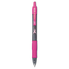 Pilot G2 Pink Ribbon Retractable Gel Ink Pen, Black Ink, Fine, 1 Dozen
