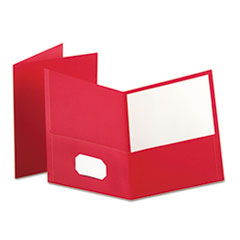 Oxford Twin-Pocket Portfolio, Embossed Leather Grain Paper, Red, 25/Box