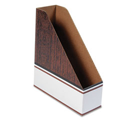 Bankers Box Corrugated Cardboard Magazine File, 4 x 11 x 12 3/4, Wood Grain, 12/Carton
