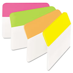 Post-it Tabs Angled Tabs, 2 x 1 1/2, Solid, Assorted Brights, 24/Pack