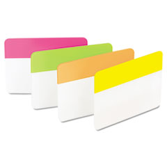 Post-it Hanging File Tabs, 2 x 1 1/2, Solid, Flat, Assorted Bright, 24/PK