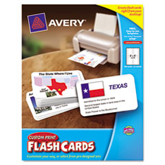 Avery Printable Flash Cards, 3 x 5, White, 4 Cards/Sheet, 100/Pack