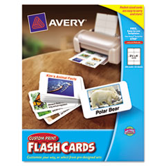 Avery Printable Flash Cards, White, 2 1/2 x 4, 8 cards/sheet, 200/PK