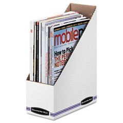 Bankers Box Corrugated Cardboard Magazine File, 4 x 9 1/4 x 11 3/4, White, 12/Carton