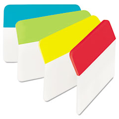 Post-it Tabs Hanging File Tabs, 2 x 1 1/2, Solid, Angled, Assorted Primary, 24/PK