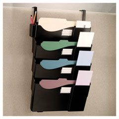 Officemate Filing System for Cubicle, 4 Pockets, 27 1/4 x 15 3/4 x 3 7/8, Plastic, Black
