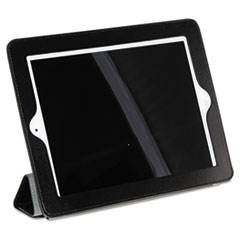 Buxton Magnetic Rollback iPad2 Cover, Pebbled Faux Leather, Black, Gray Interior