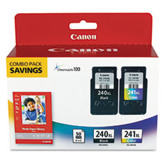 Canon 5206B005 (PG-240, CL-241XL) High-Yld ChromaLife 100 Ink, Black, Tri-Color, 2/Pk
