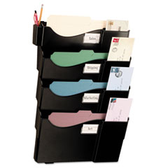 Officemate Wall Filing System, Four Pockets, 23 1/4 x 15 3/4 x 3 7/8, Plastic, Black
