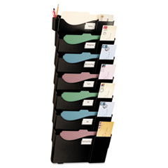 Officemate Wall Filing System, Seven Pockets, 38 1/4 x 15 3/4 x 4, Plastic, Black