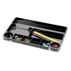 Officemate 9 Compartment Recycled Desk Drawer Organizer, Plastic, 14 x 9 x 1 1/8, Black