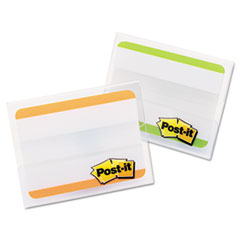 Post-it Tabs Durable File Tabs, 2 x 1 1/2, Striped, Green/Orange, 24/Pack