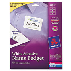 Avery Flexible Self-Adhesive Laser/Inkjet Name Badge Labels, 2-1/3 x 3-3/8, WE, 160/Pk