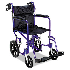 Medline Excel Deluxe Aluminum Transport Wheelchair, 19 x 16, 300lb Cap