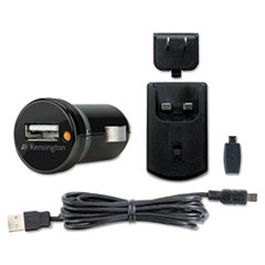 Kensington Car and Wall Charger, Mini/Micro USB, Black