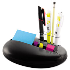 Post-it Notes Note and Flag Combo Pebble Dispenser, 3 x 3 Notes, Assorted Flags, Black