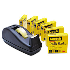 Scotch 665 Double-Sided Tape  with C40 Dispenser, 1/2