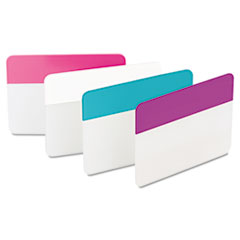 Post-it Durable File Tabs, 2 x 1 1/2, Aqua, Pink, Violet, White, 24/Pack
