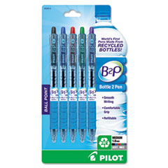 Pilot B2P Recycled Ballpoint Pen, 1.0 mm, Assorted Ink, 5/Pk